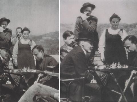 Fotó: 1939-ben jelent meg az 1908-ban Capri szigetén készült kép a sakkozó Uljanovékról, amelyről törölték az időközben kivégzett Basarovot és Peskovot. 1960-ban Peskov már ismét feltűnhetett a színen. © David King Collection